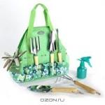 Набор садовых инструментов в сумке, цвет: зеленый